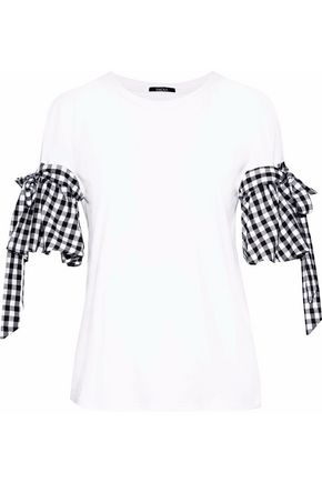 RAOUL Gingham poplin-paneled cotton-blend jersey top