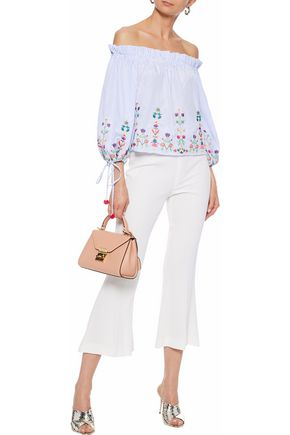 RAOUL Off-the-shoulder embroidered striped cotton blouse