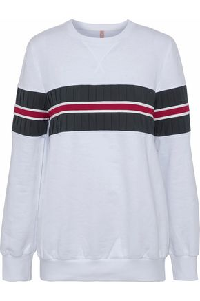 NO KA 'OI Nula paneled striped cotton-blend sweatshirt