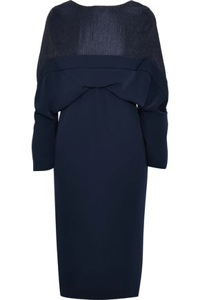 CHALAYAN Cloqué-paneled gathered cady dress