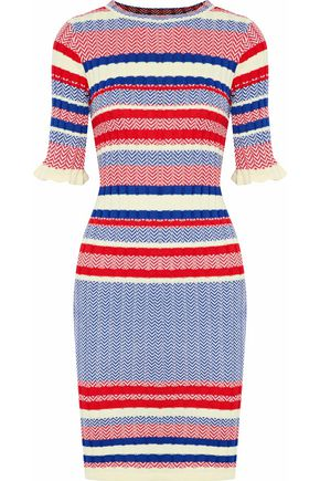 RAOUL Ribbed jacquard-knit cotton dress