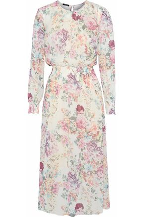 RAOUL Floral-print cotton-blend chiffon midi dress