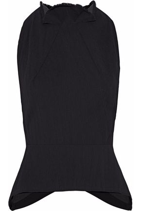 ROLAND MOURET Doyle crepe-paneled gathered plissé-crepe top