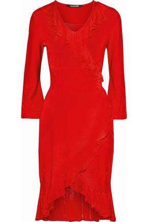 ROBERTO CAVALLI Wrap-effect ruffle-trimmed pointelle-knit dress
