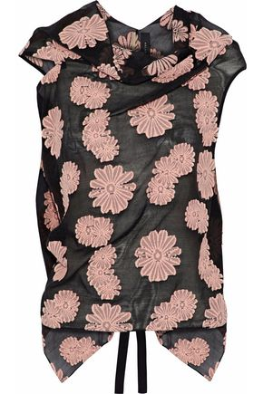ROLAND MOURET Eugene tie-back embroidered cotton-blend gauze top
