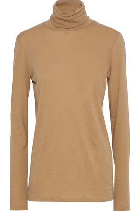 MAJESTIC FILATURES Cotton and cashmere-blend jersey turtleneck top