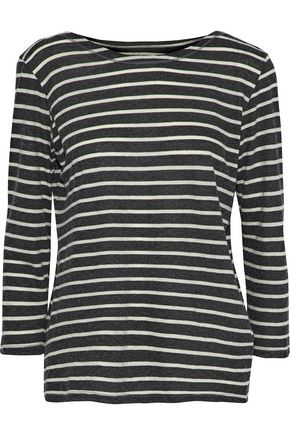 MAJESTIC FILATURES Striped cotton and cashmere-blend jersey top