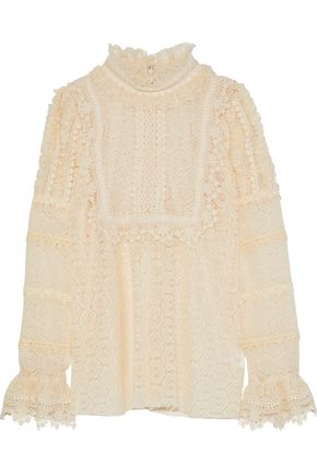 ANNA SUI Ruffle-trimmed crocheted blouse