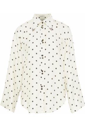 NINA RICCI Embellished printed twill shirt