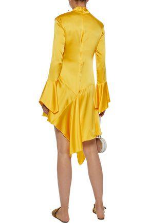 PAPER London Rufus asymmetric silk-blend satin dress