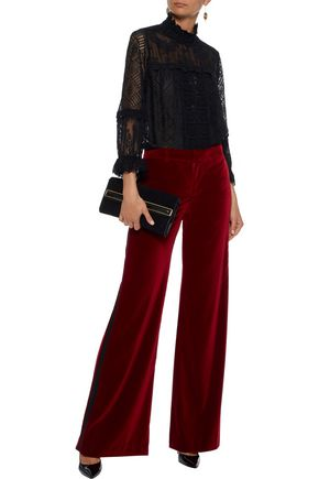 ANNA SUI Ruffle-trimmed crochet-knit blouse
