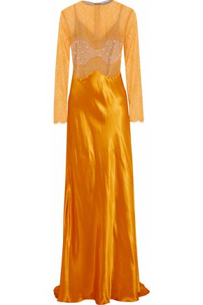 NINA RICCI Swiss-dot, corded lace, point d'esprit and satin gown