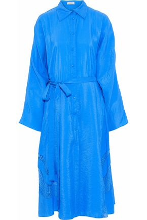 NINA RICCI Lace-trimmed textured-shell shirt dress