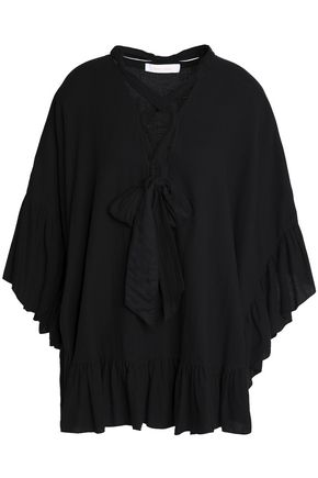 SEE BY CHLOÉ Pussy-bow draped cotton and linen-blend top