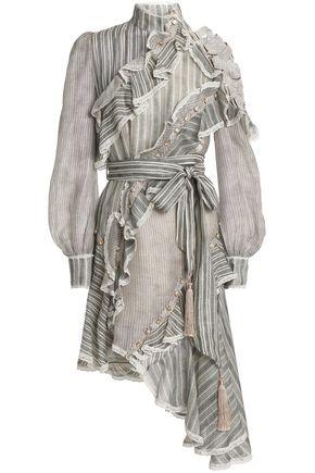 ZIMMERMANN Asymmetric striped silk and linen-blend dress