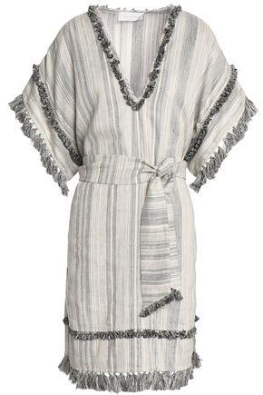ZIMMERMANN Tasseled striped linen and cotton-blend mini dress