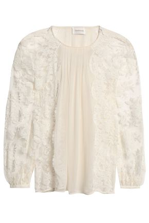 ZIMMERMANN Pintucked geogette and cotton-blend lace blouse
