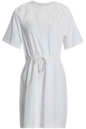 SEE BY CHLOÉ Lattice-trimmed gathered cotton-poplin mini dress