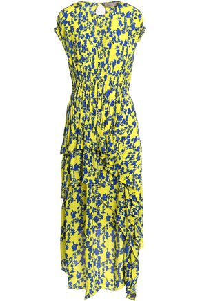 PREEN LINE Ruffled floral-print crepe de chine midi dress