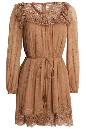 ZIMMERMANN Meridian Circle lace-paneled embroidered georgette playsuit