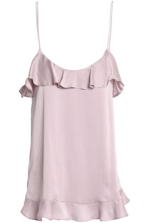 ZIMMERMANN Ruffle-trimmed washed-silk camisole