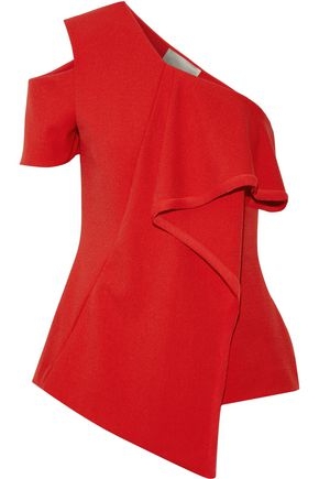 JASON WU One-shoulder paneled crepe top