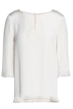 ETRO Fringe-trimmed silk crepe de chine blouse