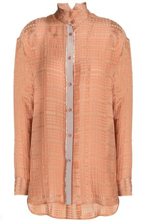 ETRO Grosgrain-trimmed silk-blend jacquard shirt