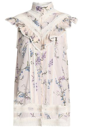 ZIMMERMANN Ruffled floral-print cotton-mousseline top