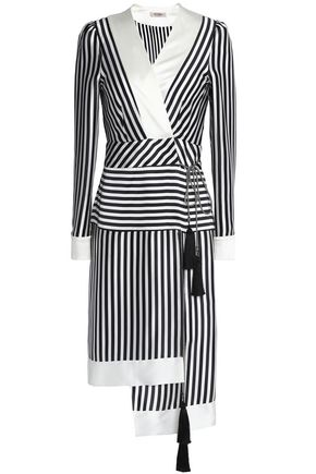 ETRO Asymmetric striped silk-satin wrap dress