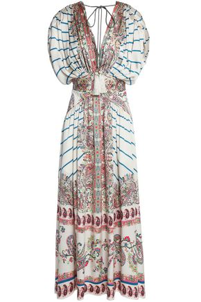 ETRO Ruched printed silk-faille midi dress