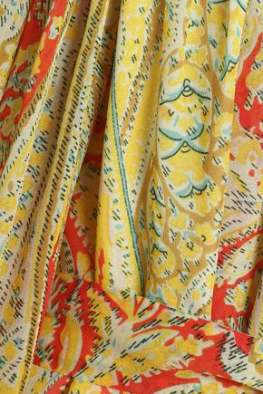 ETRO Gathered printed silk-georgette dress