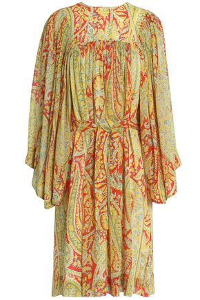 ETRO Gathered printed silk-georgette dress