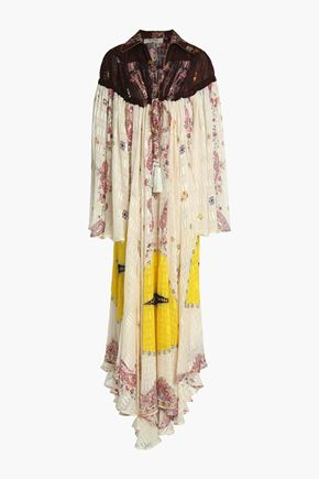 ETRO Tasseled printed silk-jacquard maxi dress