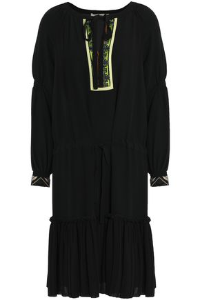 ETRO Bead-embellished embroidered silk crepe de chine dress