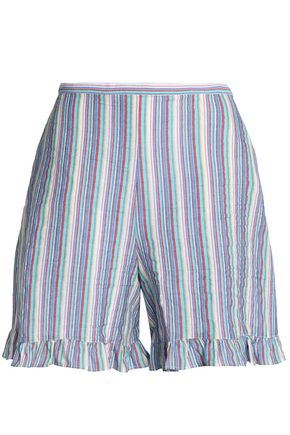 SEE BY CHLOÉ Ruffle-trimmed striped cotton-blend seersucker shorts