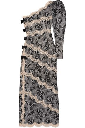 ALESSANDRA RICH One-shoulder lace gown