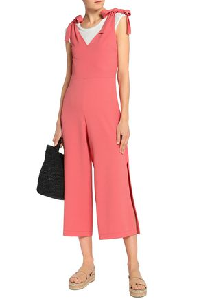 SEE BY CHLOÉ Cropped bow-detailed crepe jumpsuit