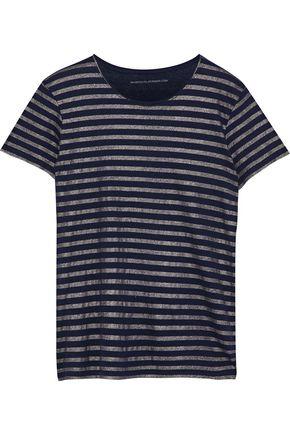 MAJESTIC FILATURES Metallic striped cotton and cashmere-blend jersey T-shirt