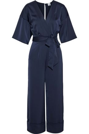IRIS & INK Sidney wrap-effect printed textured-satin jumpsuit