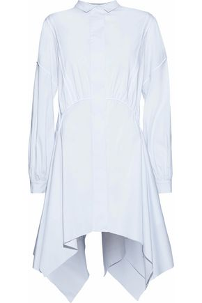 ANTONIO BERARDI Asymmetric satin-trimmed stretch-cotton poplin mini shirt dress