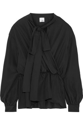 IRIS & INK Annabelle pussy-bow wrap-effect crepe de chine blouse