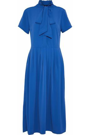 W118 by WALTER BAKER Pussy-bow pleated crepe de chine dress