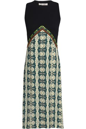 ETRO Paneled embellished printed crepe dress