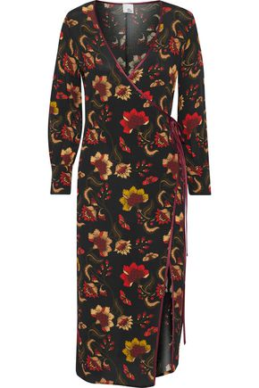 IRIS & INK Roseanne satin-trimmed floral-print crepe wrap midi dress