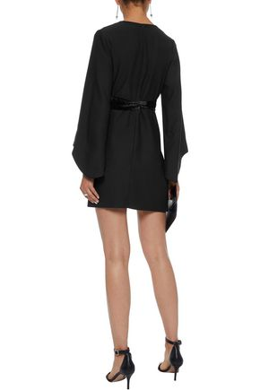 IRIS & INK Clarice belted velvet-trimmed crepe mini dress