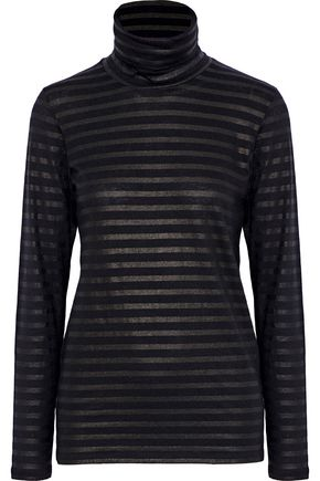 MAJESTIC FILATURES Metallic striped cotton and cashmere-blend turtleneck top