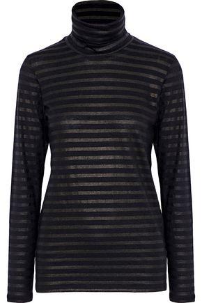 MAJESTIC FILATURES Metallic striped cotton and cashmere-blend turtleneck top