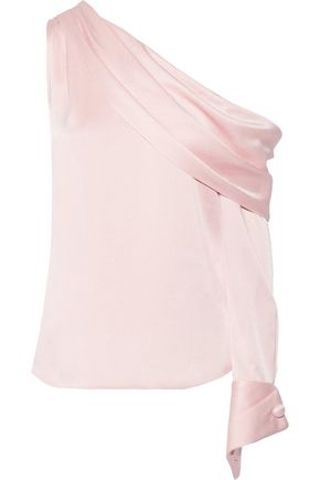 MONSE One-shoulder draped satin-crepe blouse