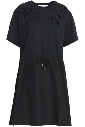 SEE BY CHLOÉ Cutout cotton-poplin and jersey dress